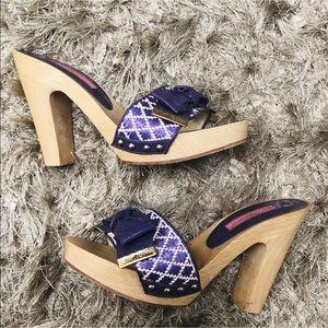 Betsey Johnson Purple Platform Heel Mule Sandals 6